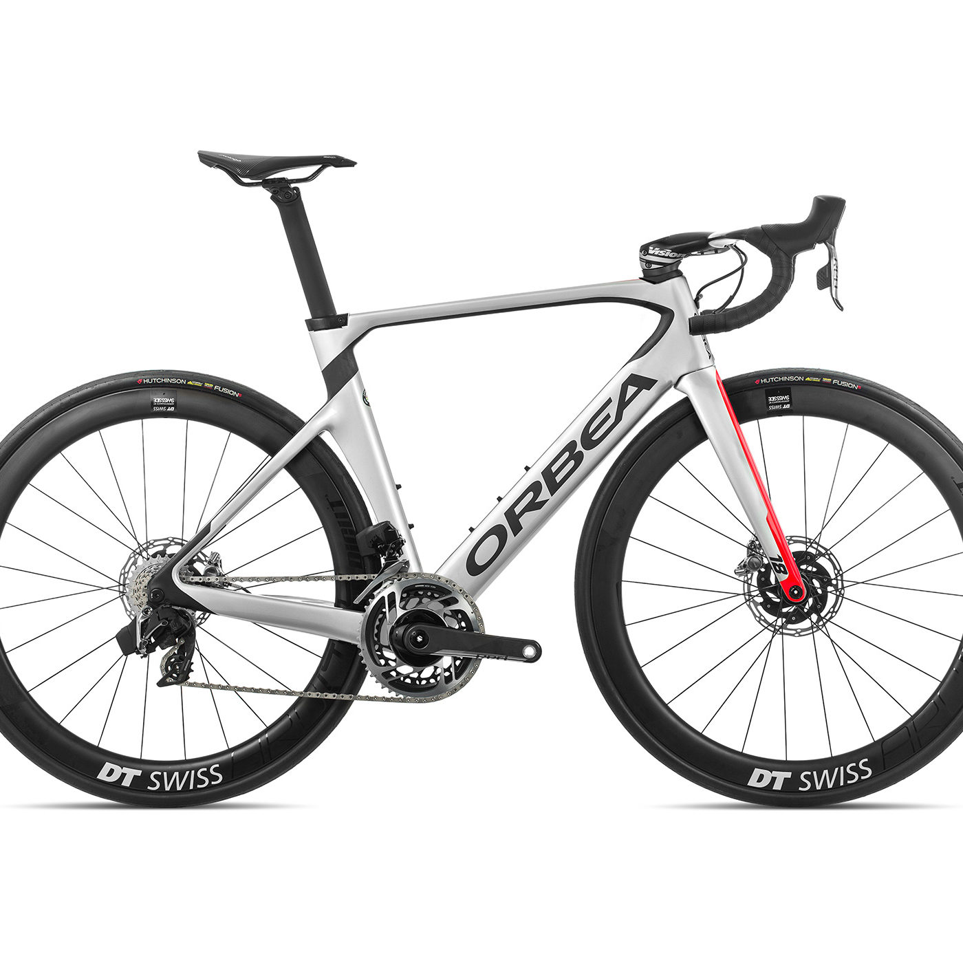 ORBEA ORCA AERO M11eTEAM-D - ZILVER-BRIGHT RED (GLOSS) / CARBON (DOF)
