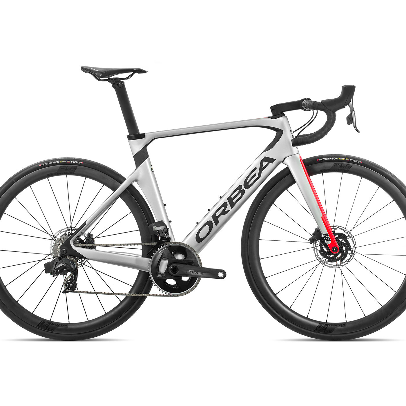 ORBEA ORCA AERO M21eTEAM-D - ZILVER-BRIGHT RED (GLOSS) / CARBON (DOF)
