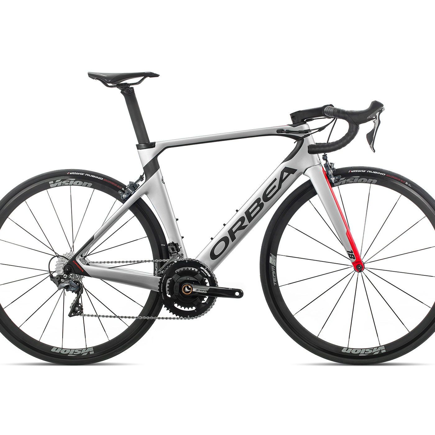 ORBEA ORCA AERO M20TEAM PWR - ZILVER-BRIGHT RED (GLOSS) / CARBON (DOF)