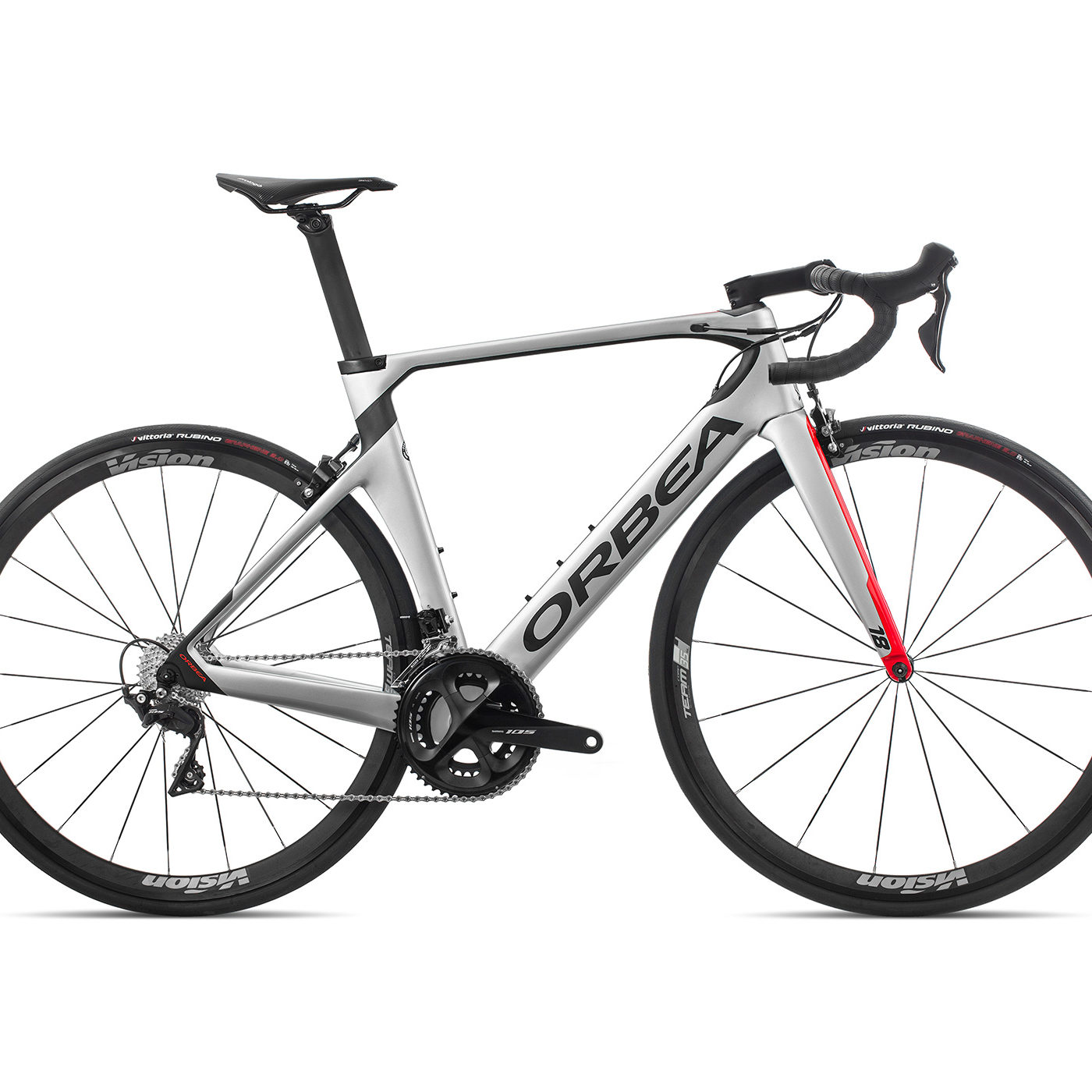 ORBEA ORCA AERO M30TEAM - ZILVER-BRIGHT RED (GLOSS) / CARBON (DOF)
